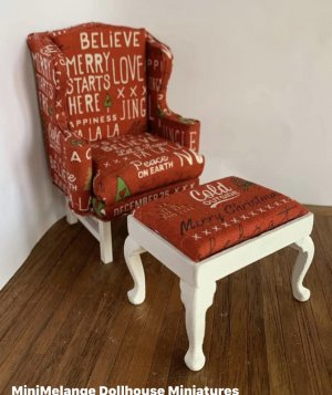 Christmas Print Upholstered Chair and Foot Stool