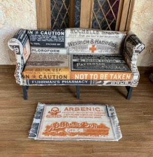 Antique Pharmacy Label Upholstered Sofa